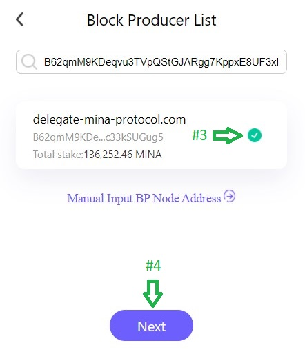 Delegate using the Auro Wallet Setp 3 and 4